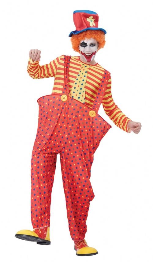 Adults Hoop Clown Costume Circus FunFair Parade Fancy Dress Outfit